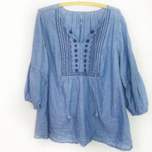 St. John's Bay Blue Embroidered Peseant Tunic 1X